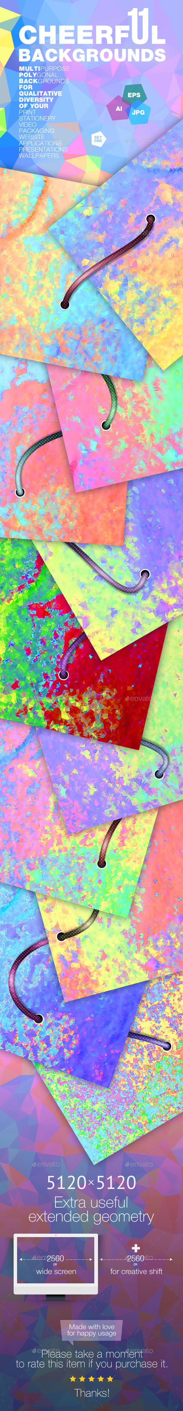GraphicRiver 11 Square Cheerful Backgrounds 11827760