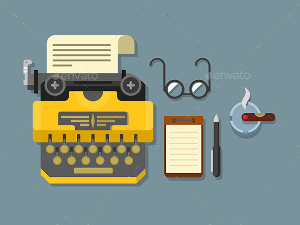GraphicRiver Typewriter With Sheet Of Paper Glasses Notepad 11915176