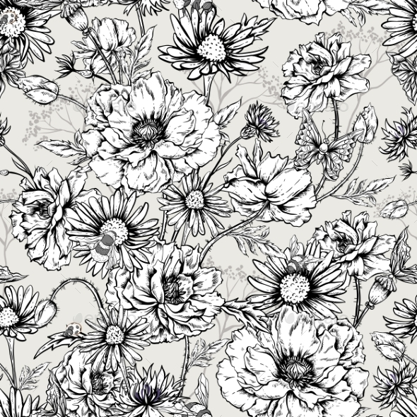 GraphicRiver Monochrome Floral Seamless Pattern With Blooming 11915210