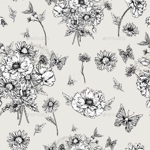 GraphicRiver Monochrome Floral Seamless Pattern With Blooming 11915212
