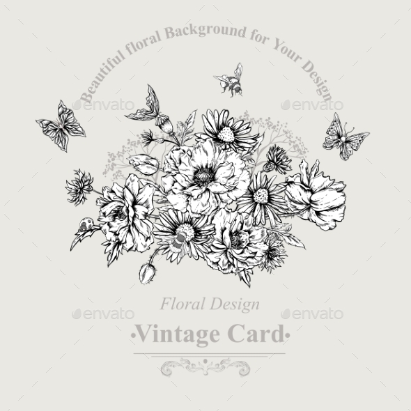 GraphicRiver Summer Monochrome Vintage Greeting Card 11915220