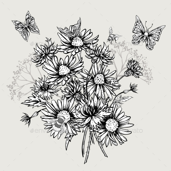 GraphicRiver Summer Monochrome Floral Bouquet Greeting Card 11915222