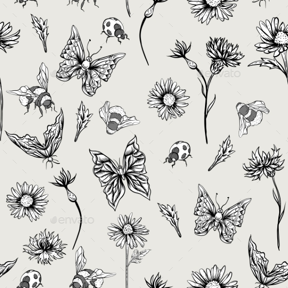 GraphicRiver Summer Monochrome Vintage Floral Seamless Pattern 11915227