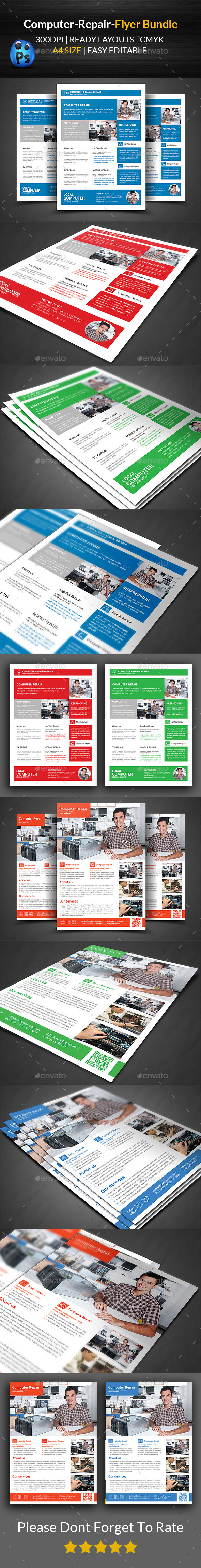 GraphicRiver Computer & Mobile Repair Flyer Bundle 11915238