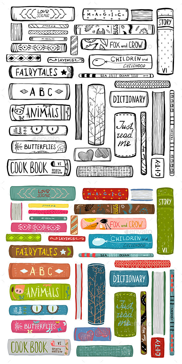 GraphicRiver Books Drawing Library Collection 11915239