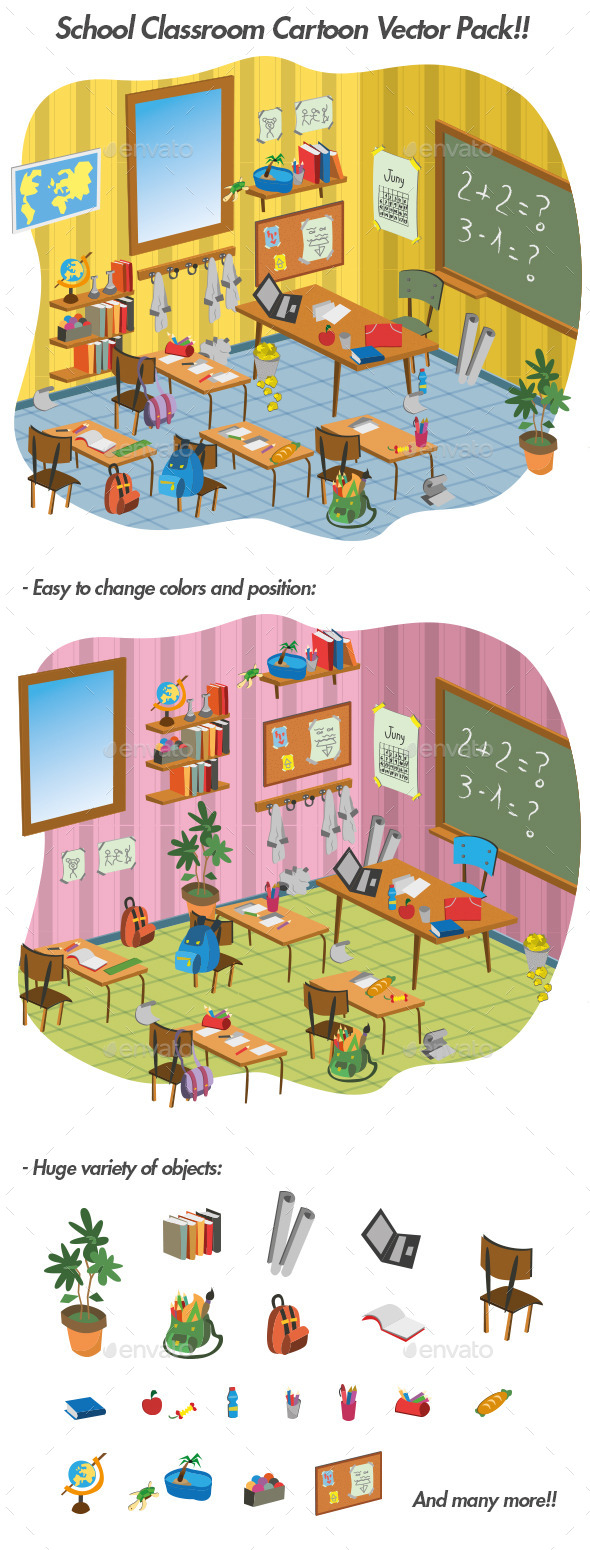 GraphicRiver School Classroom Cartoon Vector Pack 11916201