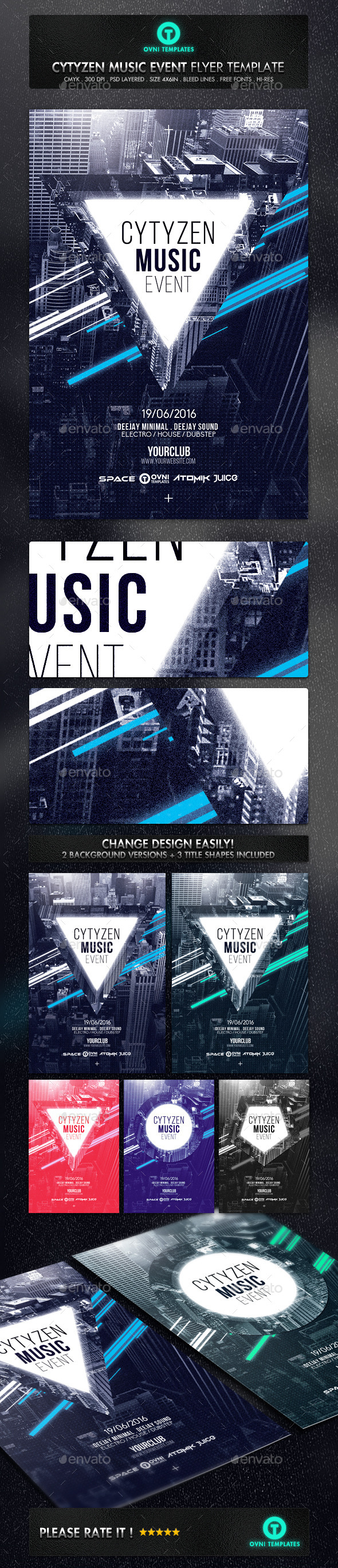 GraphicRiver City Abstract Futuristic Minimal Flyer Template 11916436