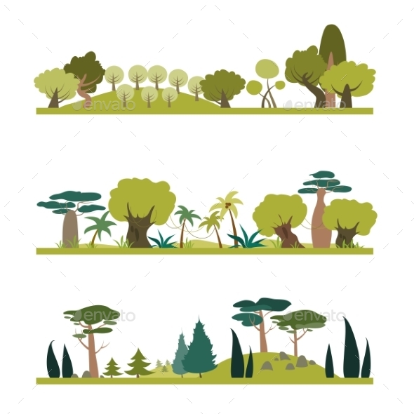 GraphicRiver Set Of Different Trees Species 11917082