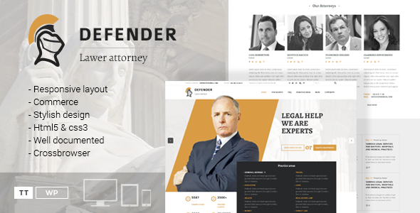 Defender – Attorney & Lawyer WordPress Theme (Business) Download