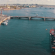 Aerial View Warship Moored in City - VideoHive Item for Sale