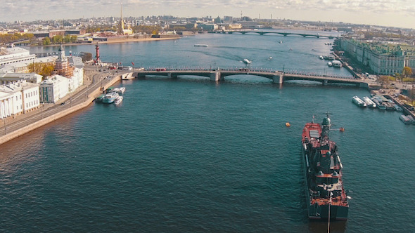 VideoHive Aerial View Warship Moored in City 11445312