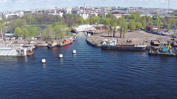 Aerial View to Dock for Ships