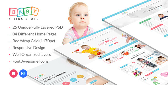 Baby & Kids Store eCommerce PSD Template (Shopping) Download