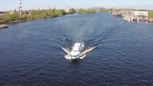 Aerial View to High-Speed Hydrofoil Boat