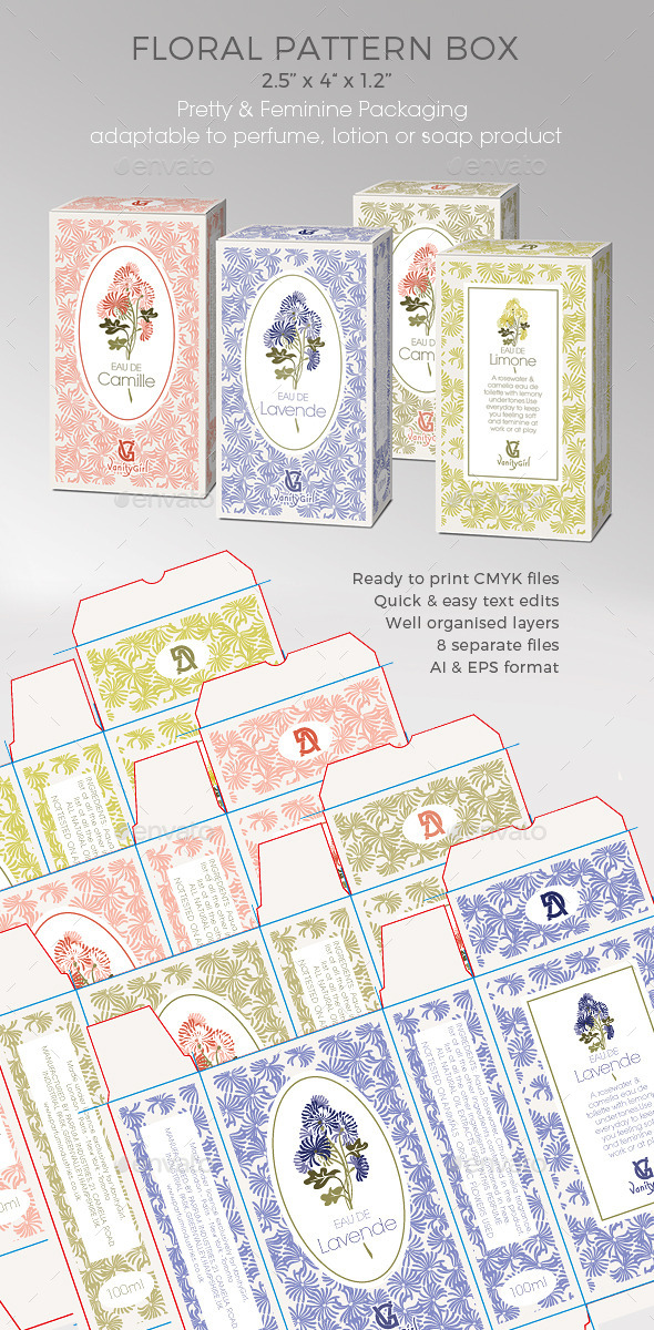 GraphicRiver Perfume Soap Cosmetic Box Floral Pattern 11918347