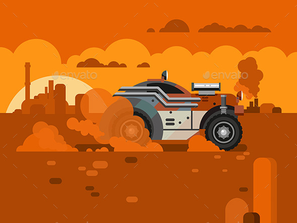 GraphicRiver Driving Fast Retro Car Through Desert 11920609