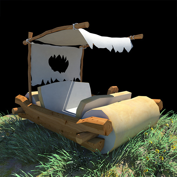 3DOcean Low Poly Fred Flintstones Car 11920970