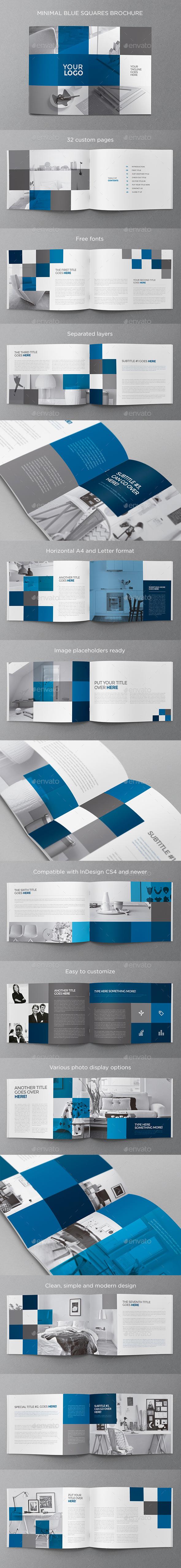 GraphicRiver Minimal Blue Squares Brochure 11921055