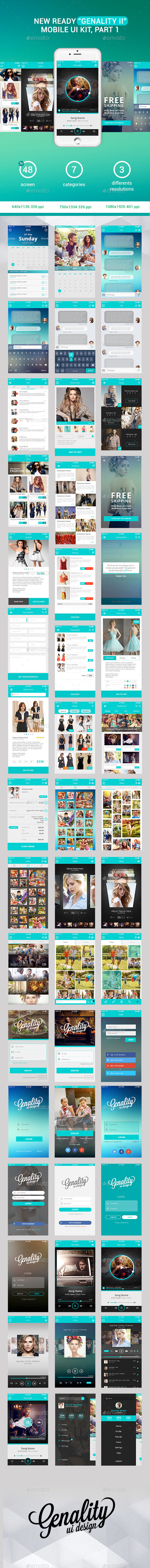 GraphicRiver New Ready Genality II Mobile UI Kit Part 1 11911430