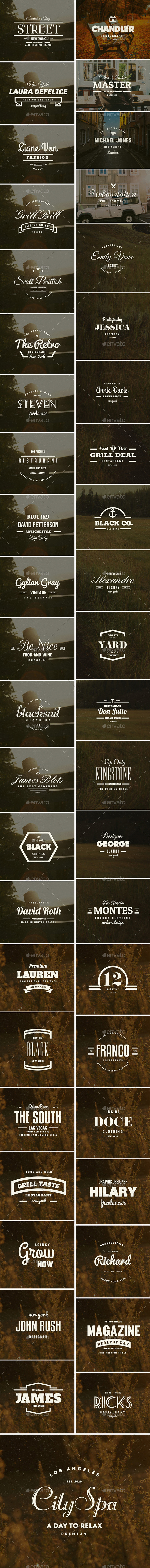 GraphicRiver 45 Vintage Labels & Badges Logos Bundle 11921321