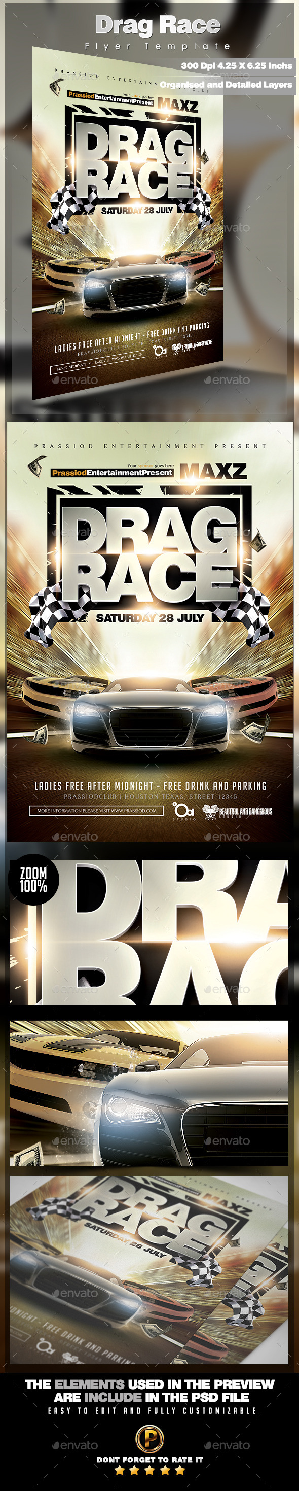 GraphicRiver Drag Race Flyer Template 11922161