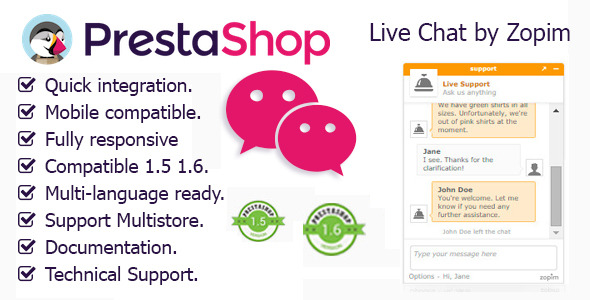 Zopim Live Chat for Prestashop