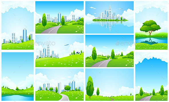 GraphicRiver Amazing Green Landscape Backgrounds Set 11923065