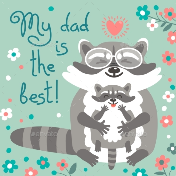 GraphicRiver Card With Cute Raccoons To Fathers Day 11924592