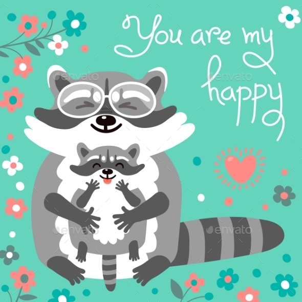 GraphicRiver Card With Cute Raccoons And a Declaration Of Love 11924607