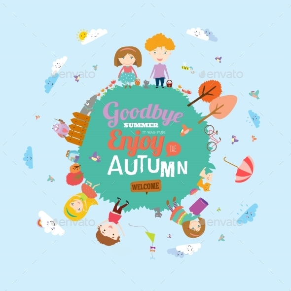 GraphicRiver Autumn Illustration With Happy Kids 11925353