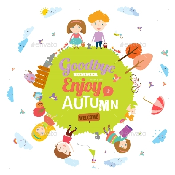 GraphicRiver Autumn Illustration With Happy Kids 11925356