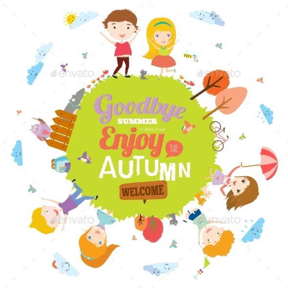GraphicRiver Autumn Illustration With Happy Kids 11925357