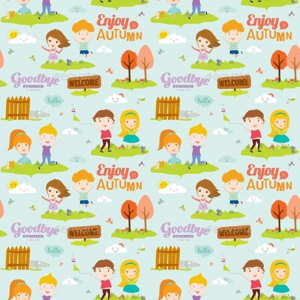 GraphicRiver Autumn Pattern With Happy Smiling Kids 11925365