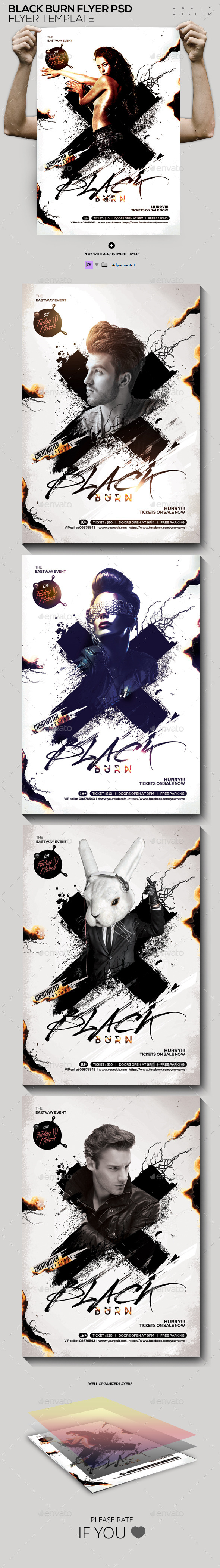 GraphicRiver Black Burn Flyer Poster Template PSD 11925418