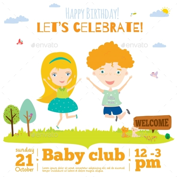 GraphicRiver Birthday Invitation Card On Baby Party 11925539