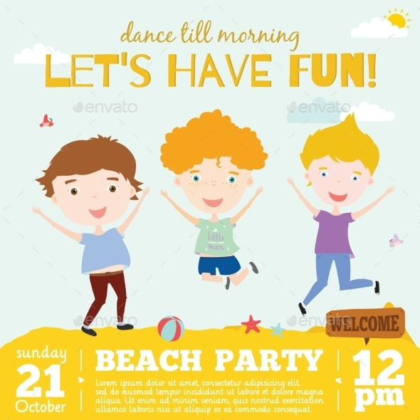 GraphicRiver Invitation Card On Summer Beach Party 11925543