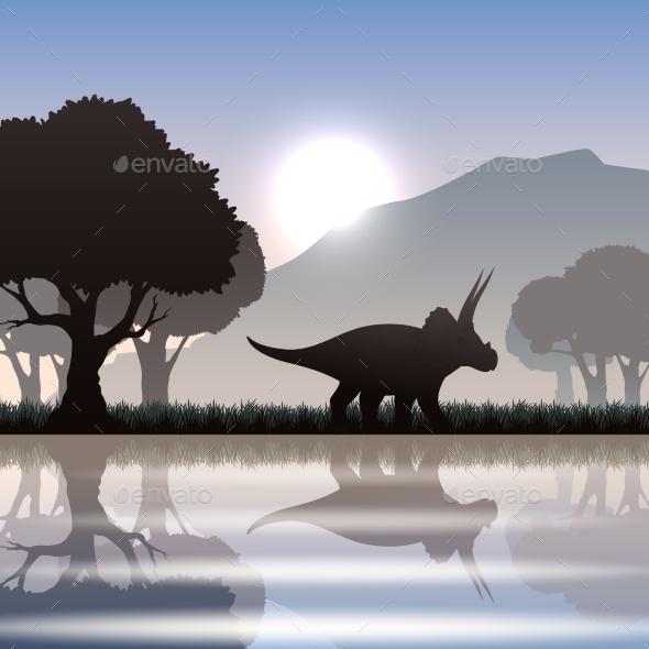 GraphicRiver Silhouette Dinosaur In Landscape 11925550
