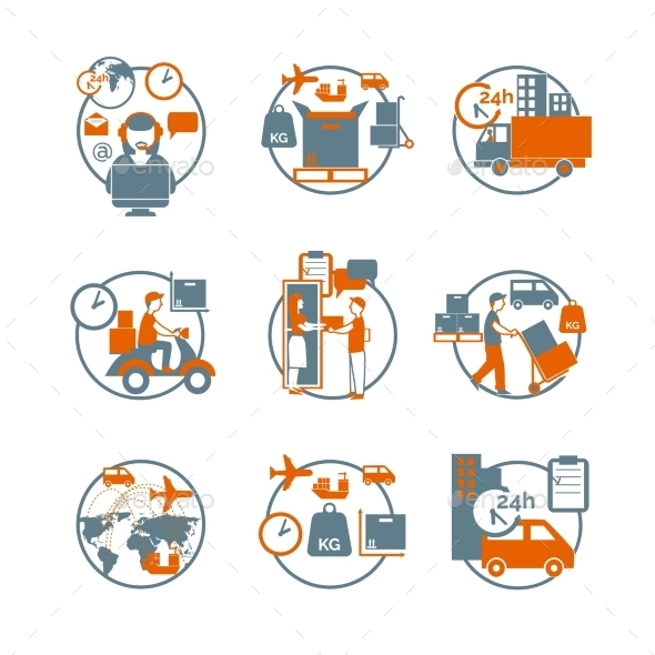 GraphicRiver Logistic Circle Grey Orange Icons Set 11925551
