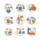 Logistic Circle Grey Orange Icons Set - GraphicRiver Item for Sale