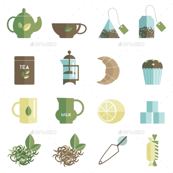 GraphicRiver Tea Time Icons Set Flat 11925553