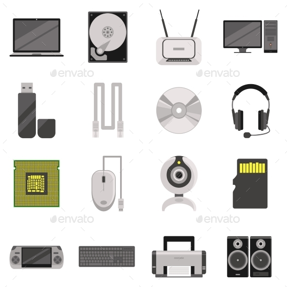 GraphicRiver Computer Components And Accessories Icon Set 11925581