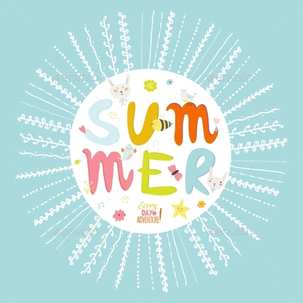 GraphicRiver Greeting Card With Vector Summer Typographic 11925596