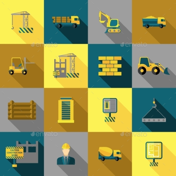 GraphicRiver Construction Icons Flat 11925751