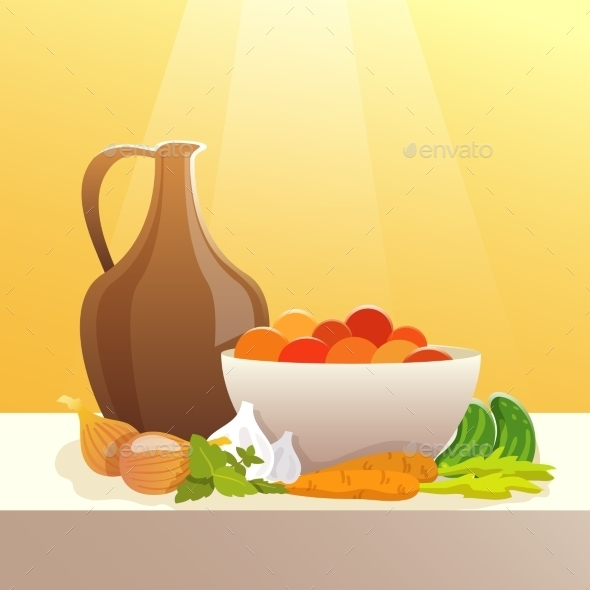 GraphicRiver Vegetables And Pitcher Still Life 11925767