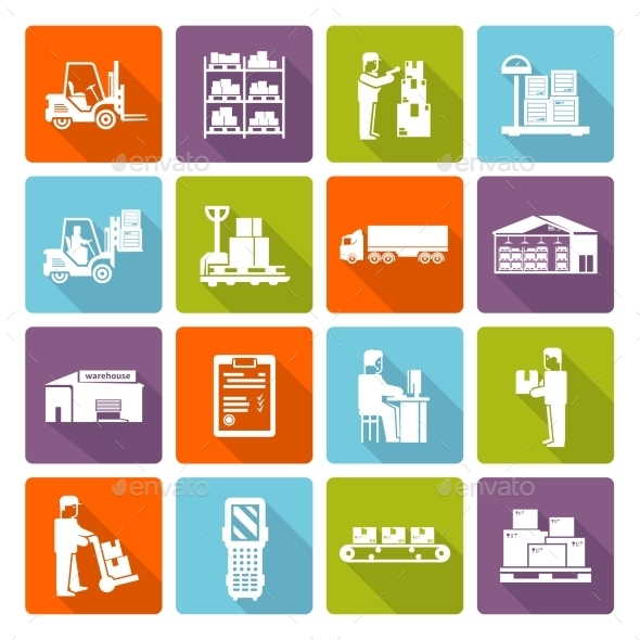 GraphicRiver Warehouse Flat Icons Set 11925772