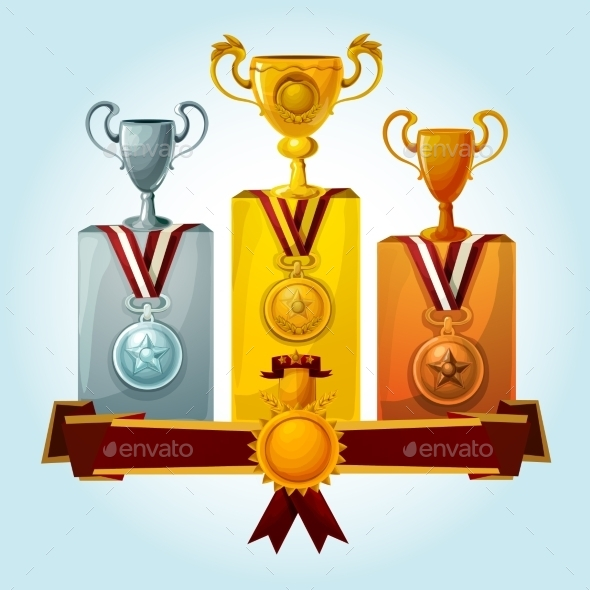 GraphicRiver Trophies On Podium 11925778