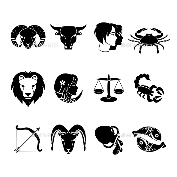 GraphicRiver Zodiac Signs Icons Set Black 11925785