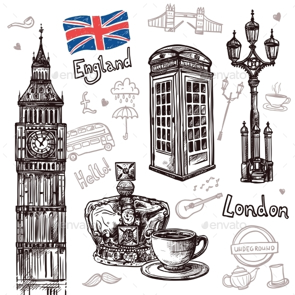 GraphicRiver London Sketch Set 11925801