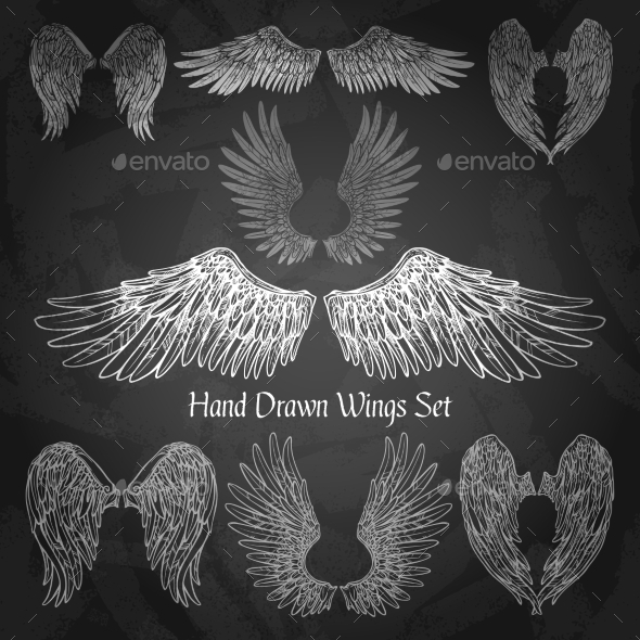 GraphicRiver Wings Chalkboard Set 11925811