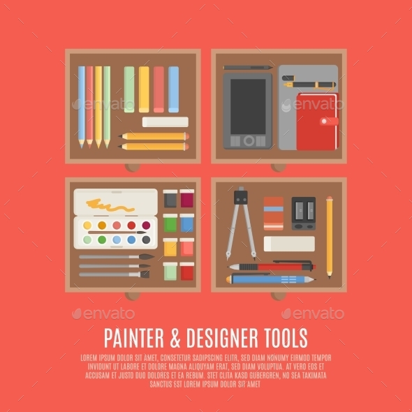 GraphicRiver Painter And Designer Tools Concept 11925828